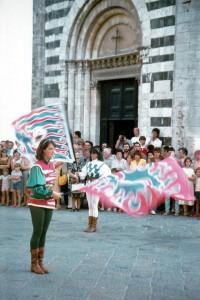 Sbandieratori in Piazza San Giovanni